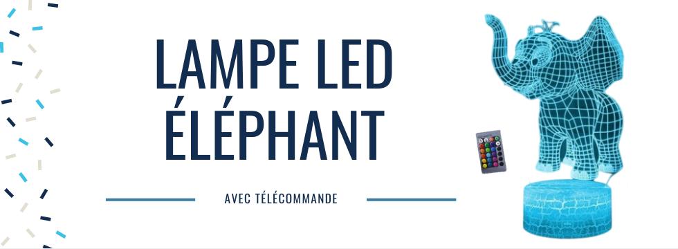 Lampe LED éléphant avec télécommande