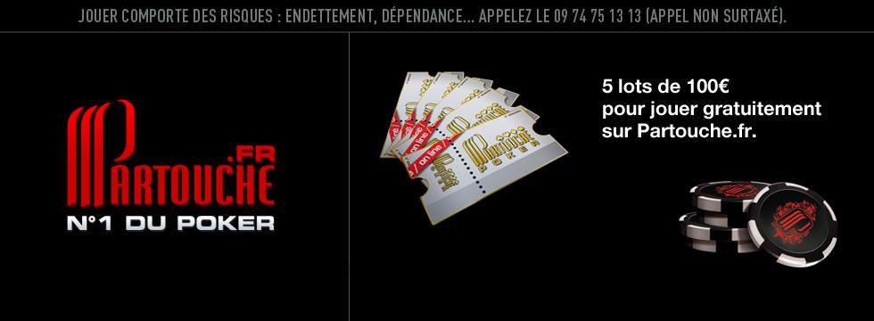 5 lots pour jouer gratuitement au poker sur Partouche.fr