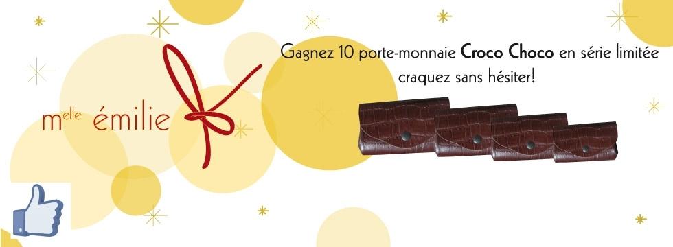 Gagnez 10 porte-monnaie en cuir choco croco en série limitée
