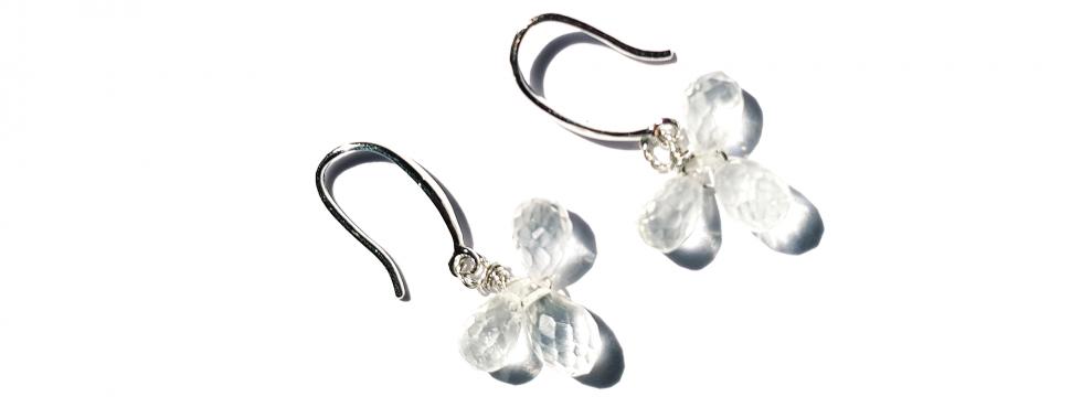 Boucles d'oreilles Trèfle en Quartz
