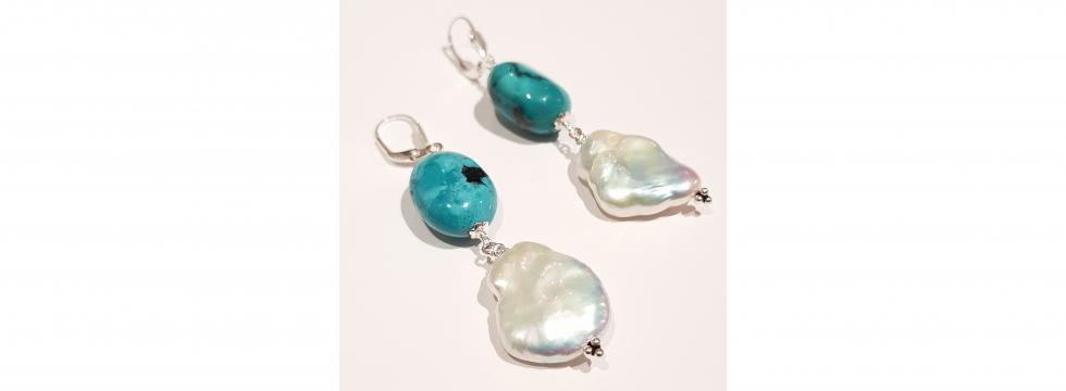 Boucles d'oreilles Turquoise véritable & Perles baroques