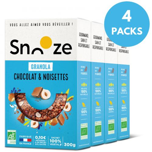 Pack Granola Chocolat Noisettes 300g x 4 - Snooze