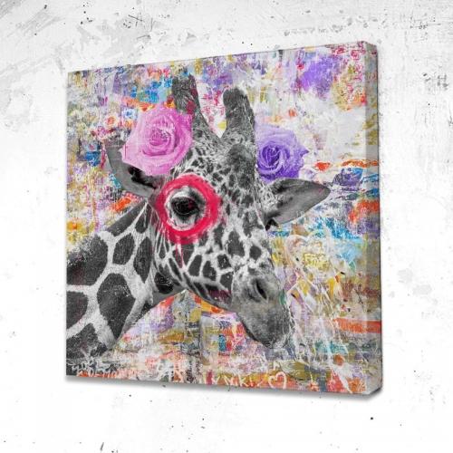 Tableau Girafe Fleurs - Huge By design