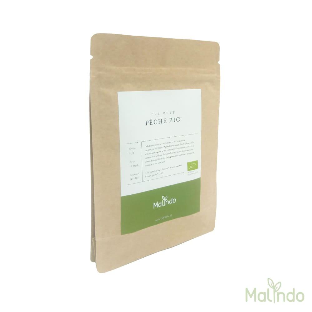Thé Vert Bio Pêche 50g -