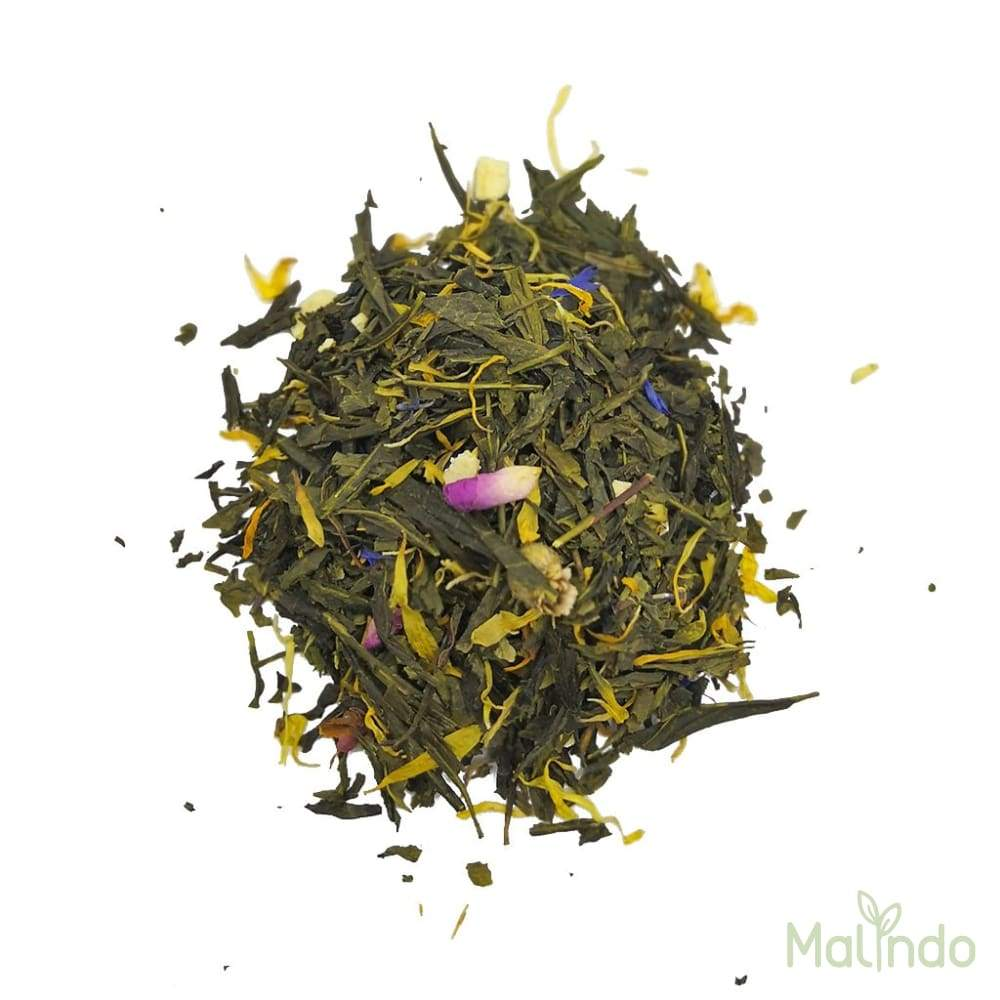 Thé vert Bio Bonne Humeur - rose, souci, fleurs de bleuet, vanille 50g -