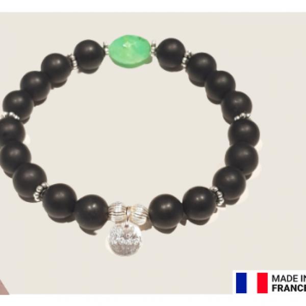 Bracelet  unisexe en gemmes naturelles et apprêts en argent 925