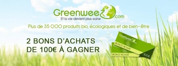 2 BONS D'ACHATS DE 100€ A GAGNER SUR GREENWEEZ.COM !